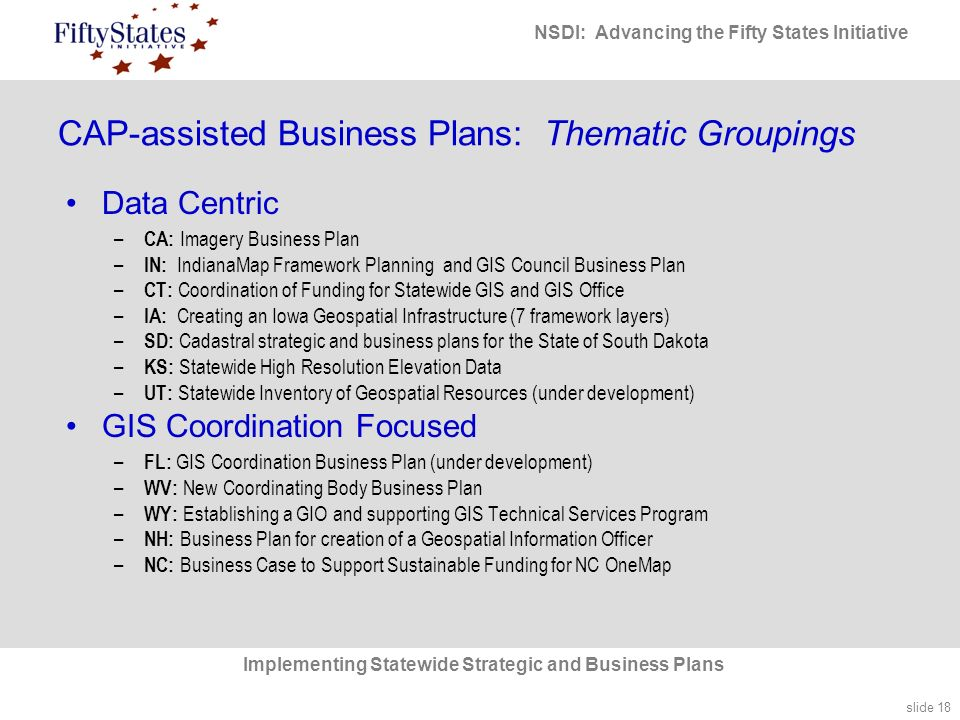 slide 18 NSDI: Advancing the Fifty States Initiative Implementing Statewide Strategic and Business Plans CAP-assisted Business Plans: Thematic Groupings Data Centric – CA: Imagery Business Plan – IN: IndianaMap Framework Planning and GIS Council Business Plan – CT: Coordination of Funding for Statewide GIS and GIS Office – IA: Creating an Iowa Geospatial Infrastructure (7 framework layers) – SD: Cadastral strategic and business plans for the State of South Dakota – KS: Statewide High Resolution Elevation Data – UT: Statewide Inventory of Geospatial Resources (under development) GIS Coordination Focused – FL: GIS Coordination Business Plan (under development) – WV: New Coordinating Body Business Plan – WY: Establishing a GIO and supporting GIS Technical Services Program – NH: Business Plan for creation of a Geospatial Information Officer – NC: Business Case to Support Sustainable Funding for NC OneMap