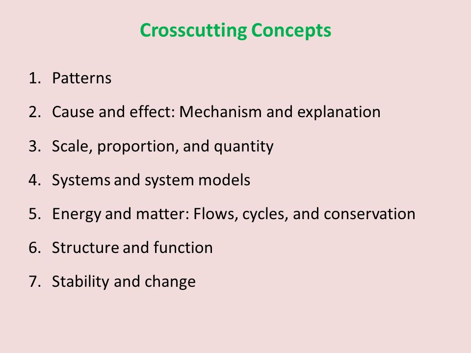 Crosscutting Concepts 1.Patterns 2.Cause and effect: Mechanism and explanation 3.Scale, proportion, and quantity 4.Systems and system models 5.Energy and matter: Flows, cycles, and conservation 6.Structure and function 7.Stability and change