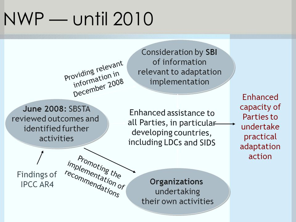 June 2008: SBSTA reviewed outcomes and identified further activities NWP — until 2010 Enhanced capacity of Parties to undertake practical adaptation action Enhanced assistance to all Parties, in particular developing countries, including LDCs and SIDS Findings of IPCC AR4 Organizations undertaking their own activities Consideration by SBI of information relevant to adaptation implementation Providing relevant information in December 2008 Promoting the implementation of recommendations