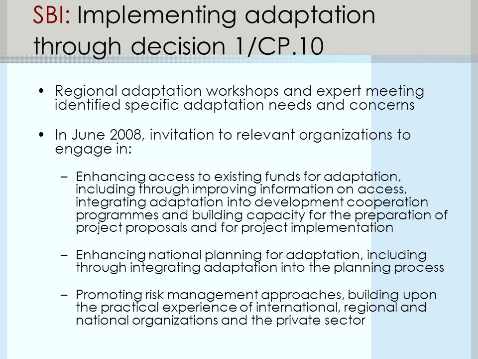 SBI: Implementing adaptation through decision 1/CP.10 Regional adaptation workshops and expert meeting identified specific adaptation needs and concerns In June 2008, invitation to relevant organizations to engage in: –Enhancing access to existing funds for adaptation, including through improving information on access, integrating adaptation into development cooperation programmes and building capacity for the preparation of project proposals and for project implementation –Enhancing national planning for adaptation, including through integrating adaptation into the planning process –Promoting risk management approaches, building upon the practical experience of international, regional and national organizations and the private sector