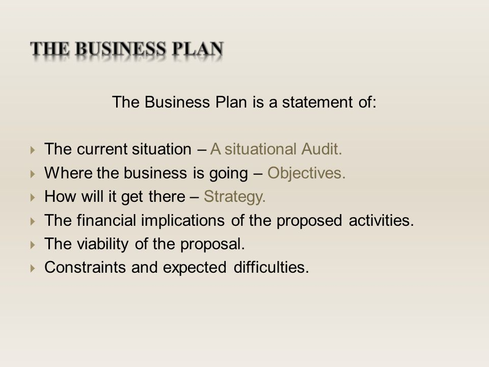 Objectives for business plan
