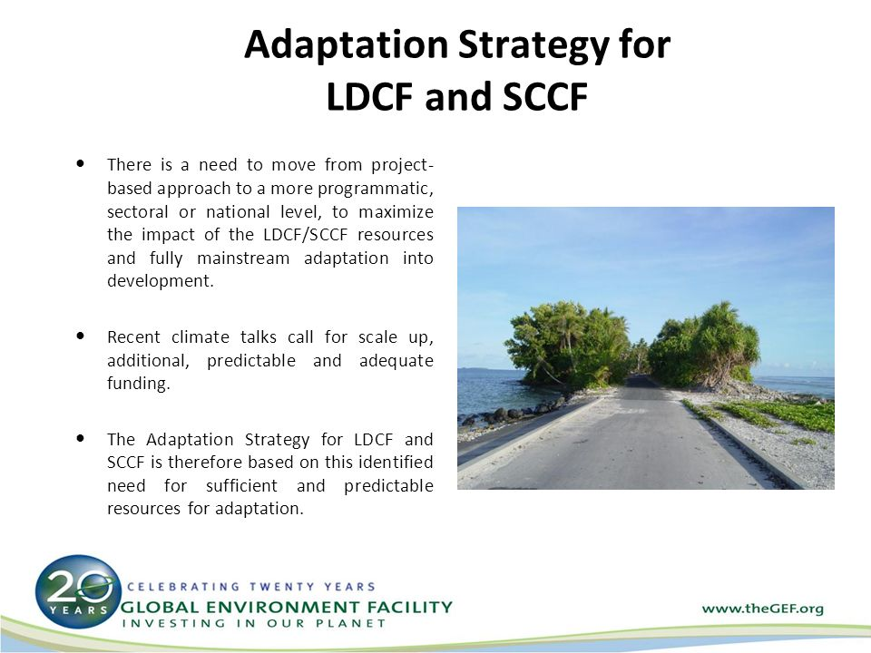 Adaptation Strategy for LDCF and SCCF There is a need to move from project- based approach to a more programmatic, sectoral or national level, to maximize the impact of the LDCF/SCCF resources and fully mainstream adaptation into development.
