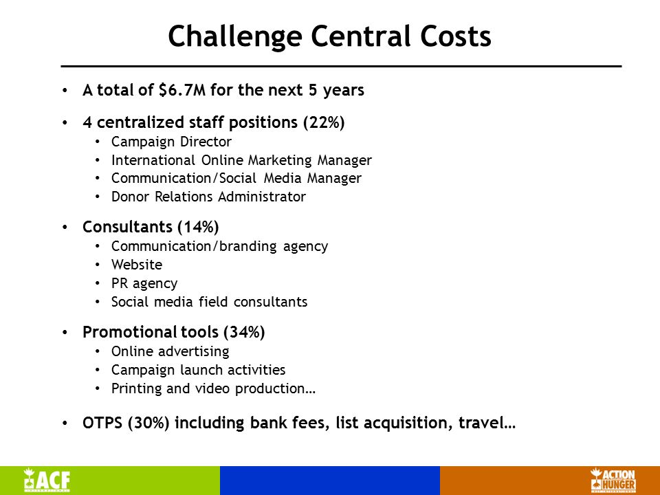 Challenge Central Costs A total of $6.7M for the next 5 years 4 centralized staff positions (22%) Campaign Director International Online Marketing Manager Communication/Social Media Manager Donor Relations Administrator Consultants (14%) Communication/branding agency Website PR agency Social media field consultants Promotional tools (34%) Online advertising Campaign launch activities Printing and video production… OTPS (30%) including bank fees, list acquisition, travel…