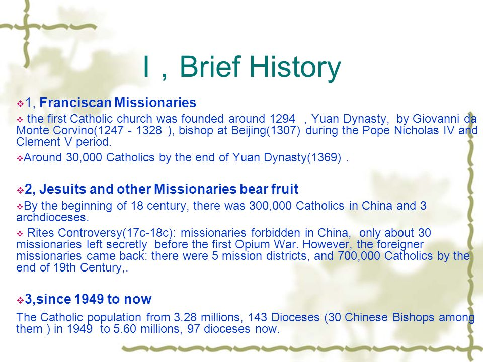 Chinese Catholicism After , A Brief History:three stages 2, The ...