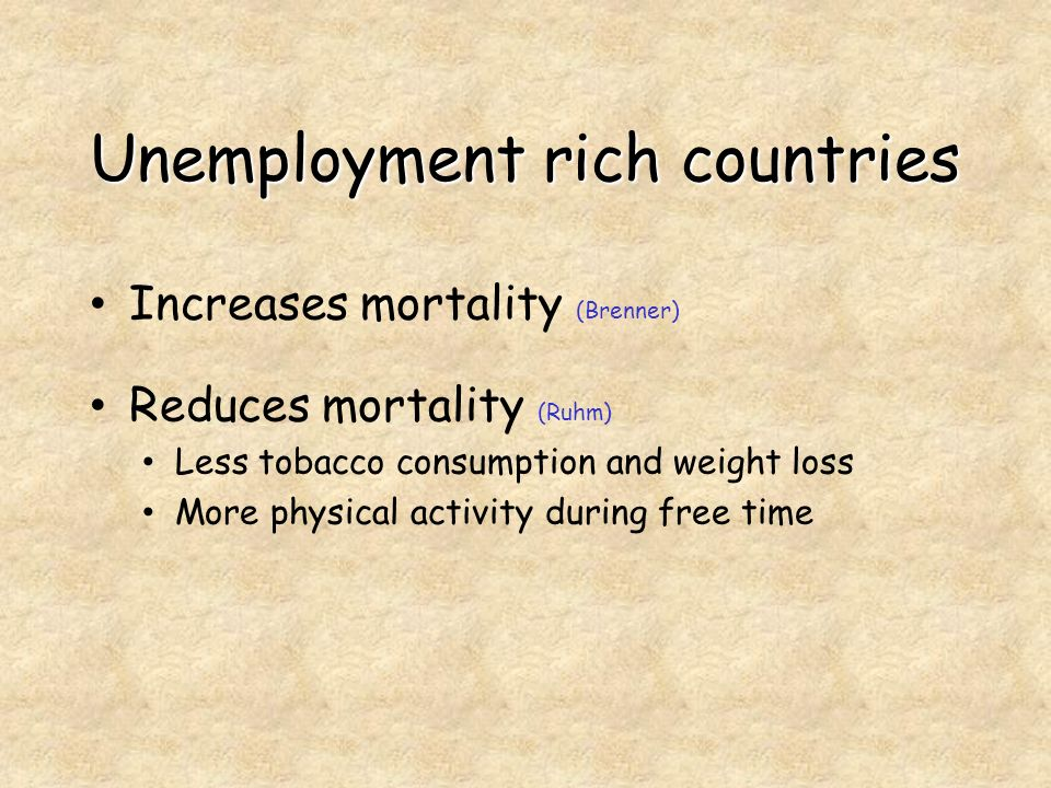 Unemployment rich countries Increases mortality (Brenner) Reduces mortality (Ruhm) Less tobacco consumption and weight loss More physical activity during free time