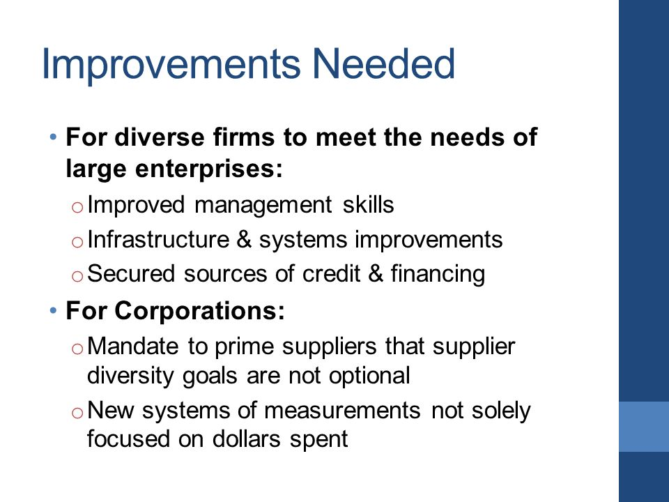 Improvements Needed For diverse firms to meet the needs of large enterprises: o Improved management skills o Infrastructure & systems improvements o Secured sources of credit & financing For Corporations: o Mandate to prime suppliers that supplier diversity goals are not optional o New systems of measurements not solely focused on dollars spent
