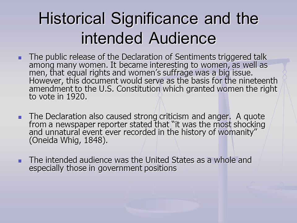 declaration of sentiments and resolutions thesis Declarations of independence: women's rights and the seneca falls declaration of sentiments and resolutions by amy trenkle.
