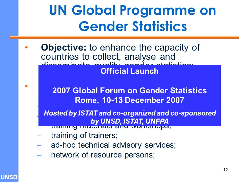 UNSD 12 UN Global Programme on Gender Statistics Objective: to enhance the capacity of countries to collect, analyse and disseminate quality gender statistics; Achieved through: –Inter-agency expert group; –web-based Bulletin Board (portal); –database; –training materials and workshops; –training of trainers; –ad-hoc technical advisory services; –network of resource persons; Official Launch 2007 Global Forum on Gender Statistics Rome, December 2007 Hosted by ISTAT and co-organized and co-sponsored by UNSD, ISTAT, UNFPA