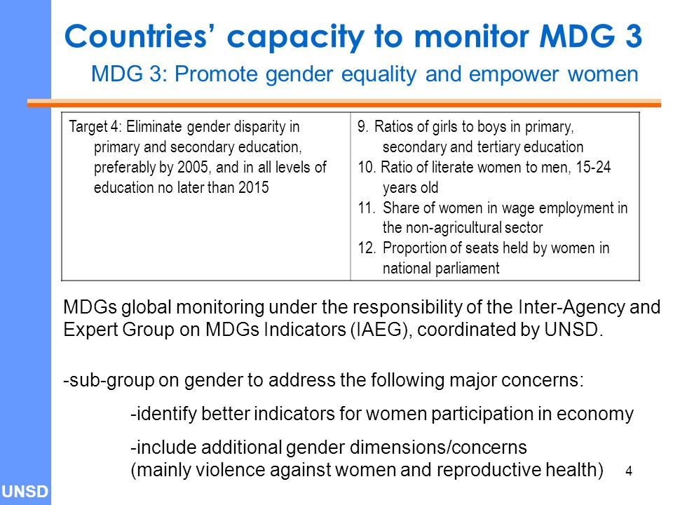 UNSD 4 Countries' capacity to monitor MDG 3 Target 4: Eliminate gender disparity in primary and secondary education, preferably by 2005, and in all levels of education no later than