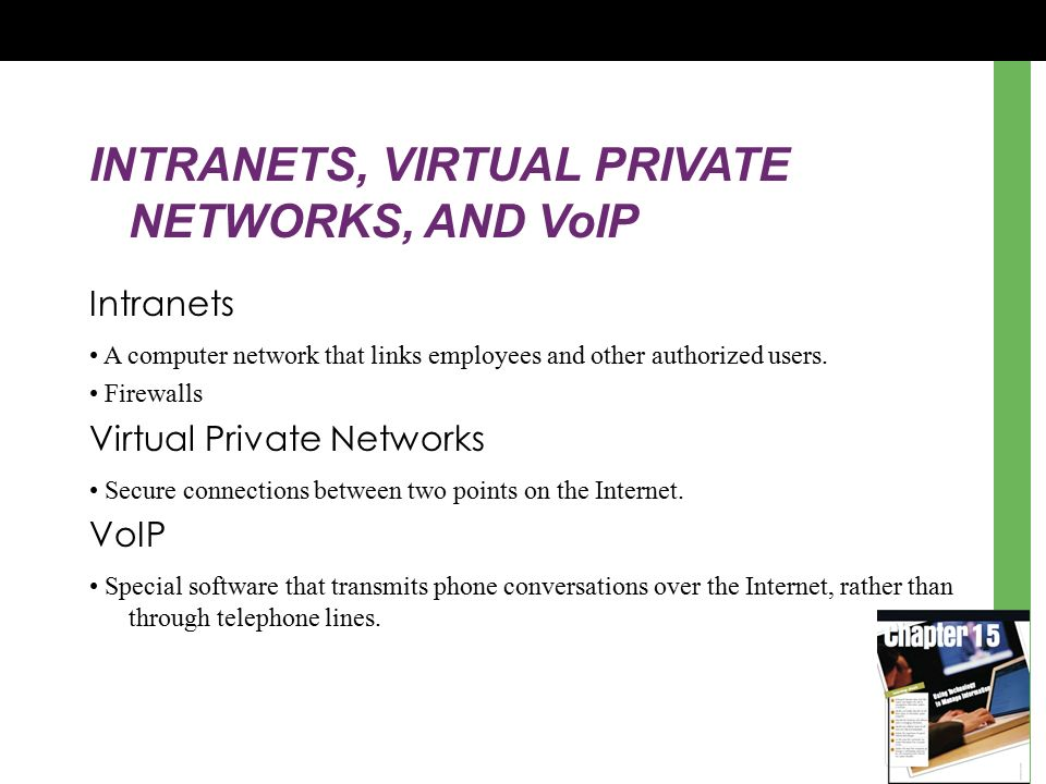 INTRANETS, VIRTUAL PRIVATE NETWORKS, AND VoIP Intranets A computer network that links employees and other authorized users.