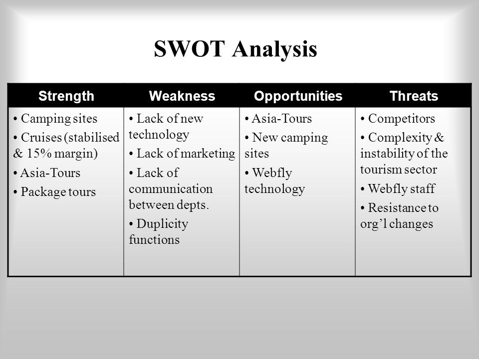 swot analysis for a camping industry