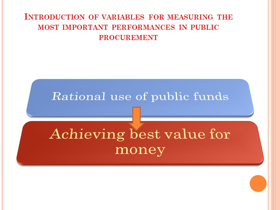 I NTRODUCTION OF VARIABLES FOR MEASURING THE MOST IMPORTANT PERFORMANCES IN PUBLIC PROCUREMENT