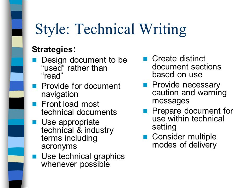 Technical writing documents