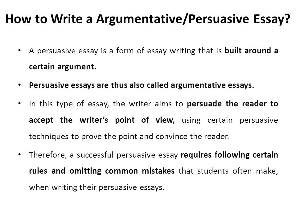 rules of writing an argumentative essay