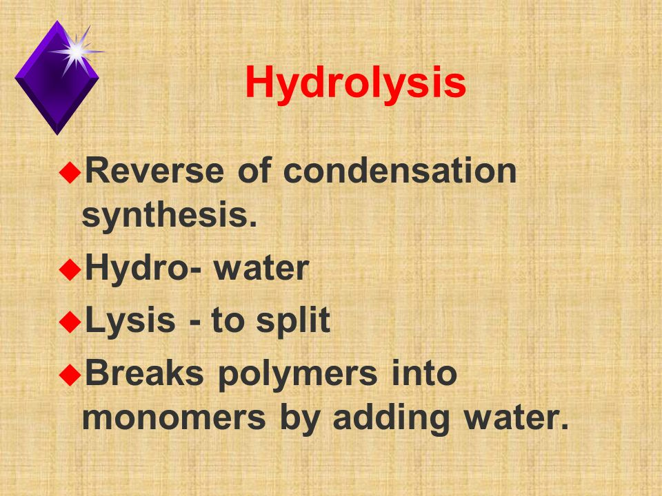 Hydrolysis u Reverse of condensation synthesis.