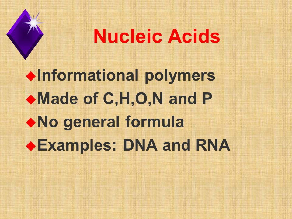 Nucleic Acids u Informational polymers u Made of C,H,O,N and P u No general formula u Examples: DNA and RNA
