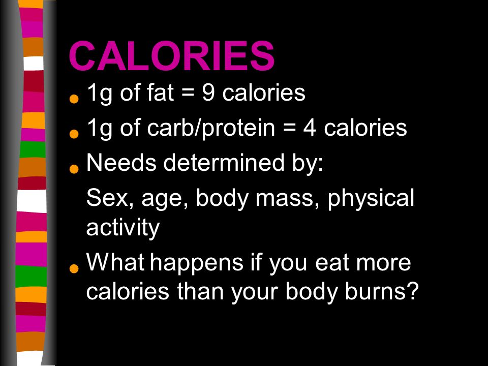 CALORIES 1g of fat = 9 calories 1g of carb/protein = 4 calories Needs determined by: Sex, age, body mass, physical activity What happens if you eat more calories than your body burns