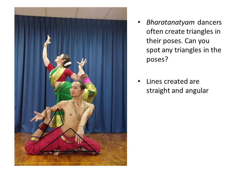 Bharatanatyam dancers often create triangles in their poses.