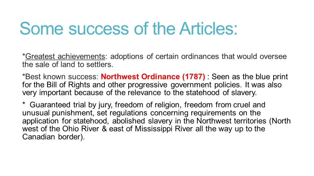 the successes of the articles of