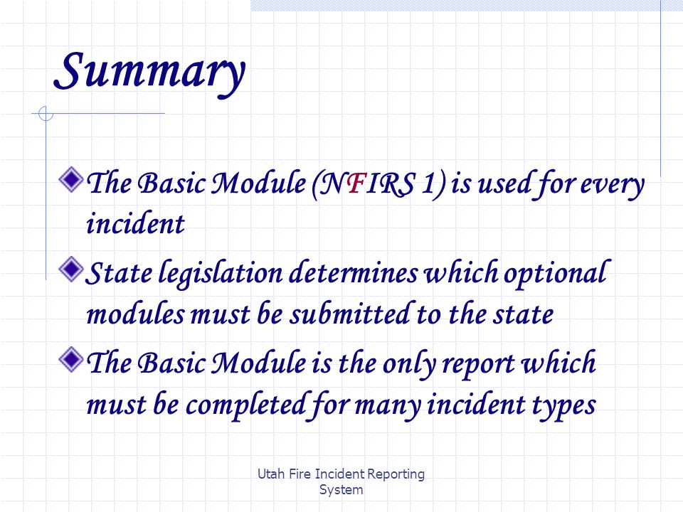 Utah Fire Incident Reporting System Nfirs  Required Modulesfire