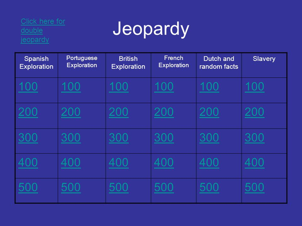 Jeopardy Spanish Exploration Portuguese Exploration British Exploration French Exploration Dutch and random facts Slavery Click here for double jeopardy