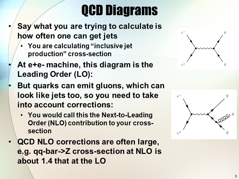 QCD Diagrams Say what you are trying to calculate is how often one can get jets You are calculating inclusive jet production cross-section At e+e- machine, this diagram is the Leading Order (LO): But quarks can emit gluons, which can look like jets too, so you need to take into account corrections: You would call this the Next-to-Leading Order (NLO) contribution to your cross- section QCD NLO corrections are often large, e.g.