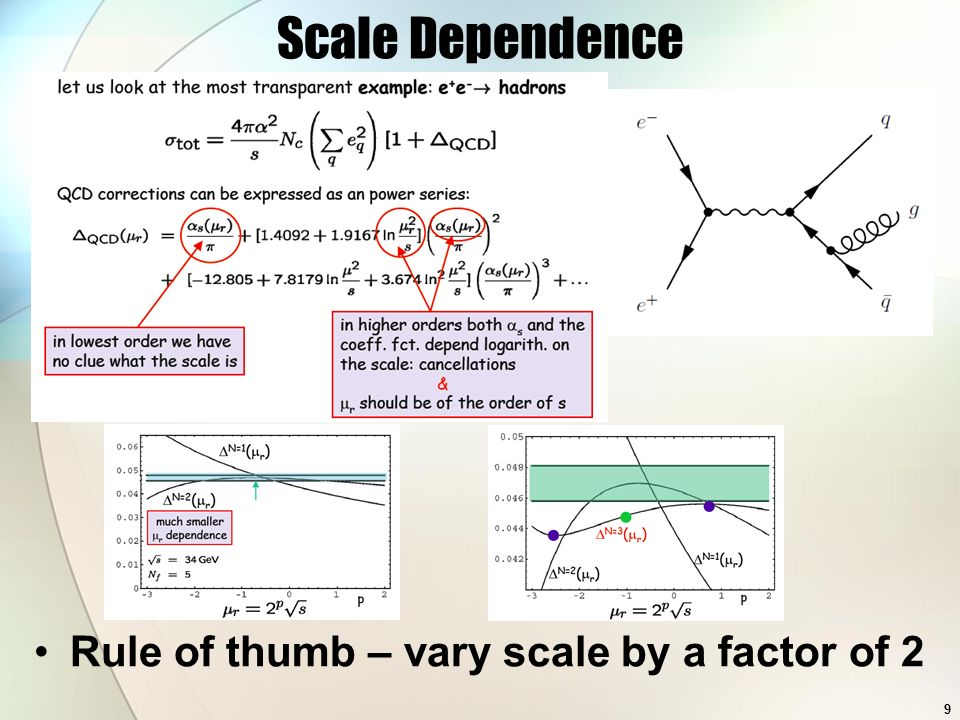 Scale Dependence Rule of thumb – vary scale by a factor of 2 9