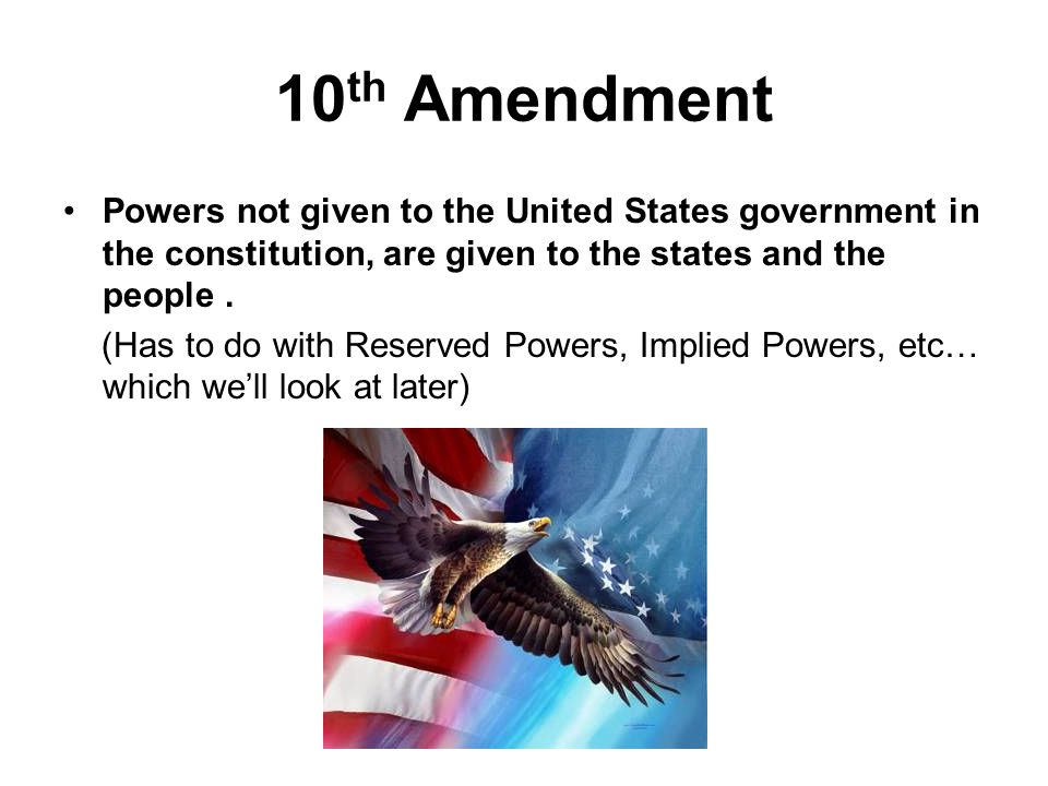10th amendment essay Amendments essays amendment 2: the second amendment gave the people the right to own an arm for protection of themselves and their country amendment 3 : the third amendment says that soldiers are not allowed to stay at a citizen's residents without the owner's consent.