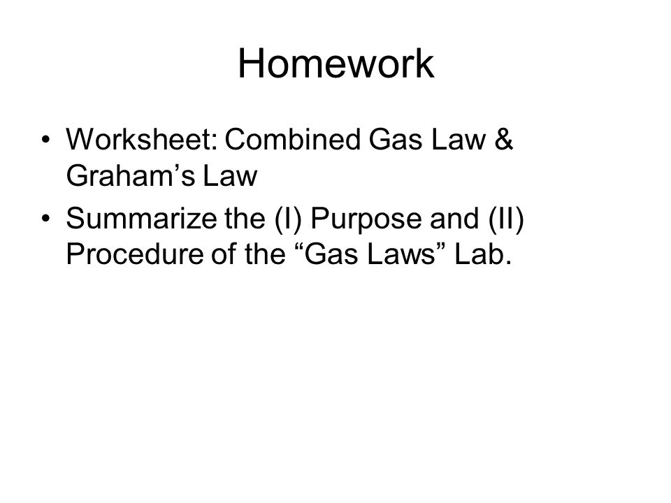 Chapter 18 The Combined Gas Law Grahams Law Combined Gas Law – Combined Gas Law Worksheet