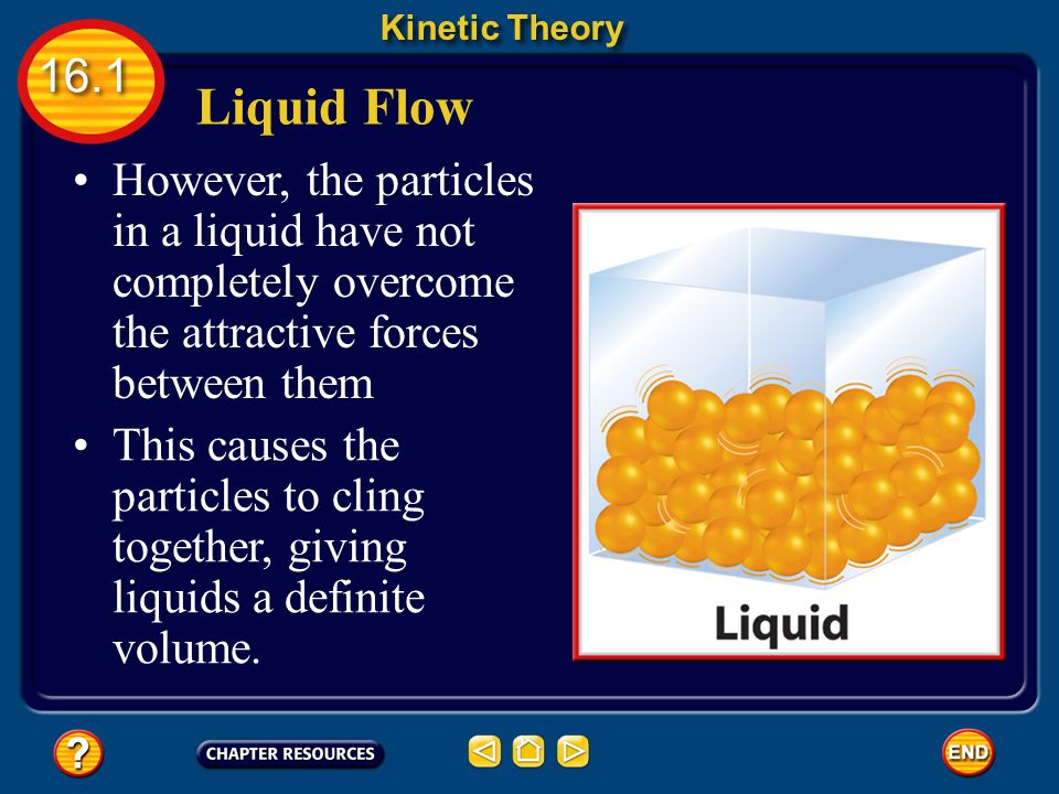 Liquid Flow Kinetic Theory 16.1 Thus, the particles can slide past each other, allowing liquids to _____ and take the shape of their container.
