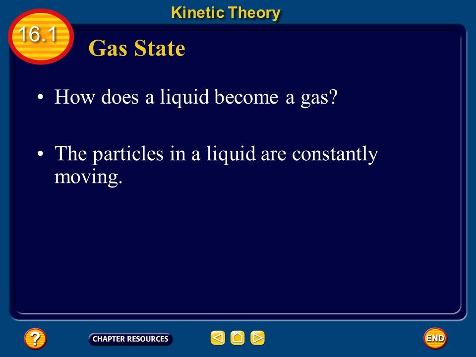 Gas State Kinetic Theory 16.1 Gas particles have enough kinetic energy to overcome the attractions between them.
