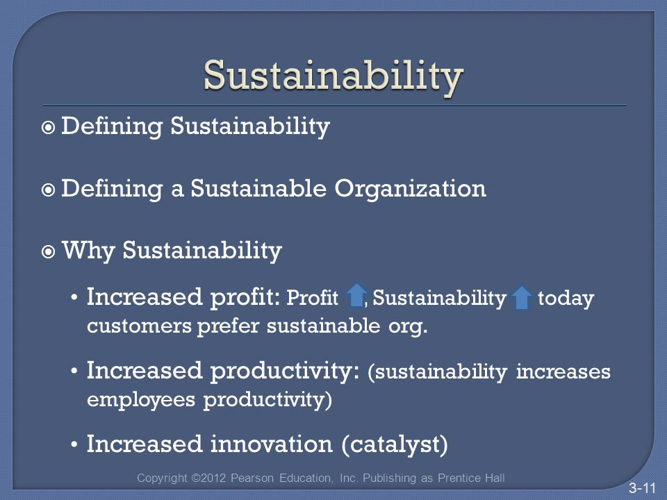  Defining Sustainability  Defining a Sustainable Organization  Why Sustainability Increased profit: Profit, Sustainability today customers prefer sustainable org.