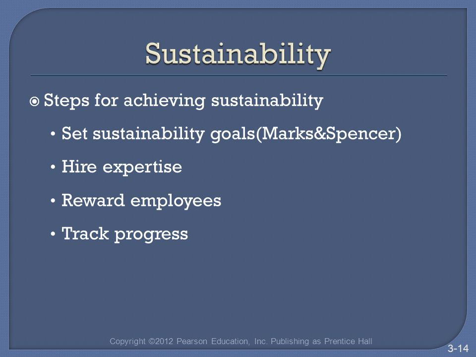  Steps for achieving sustainability Set sustainability goals(Marks&Spencer) Hire expertise Reward employees Track progress Copyright ©2012 Pearson Education, Inc.