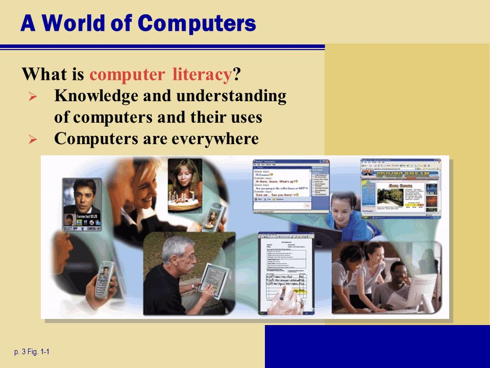 A World of Computers What is computer literacy. p.