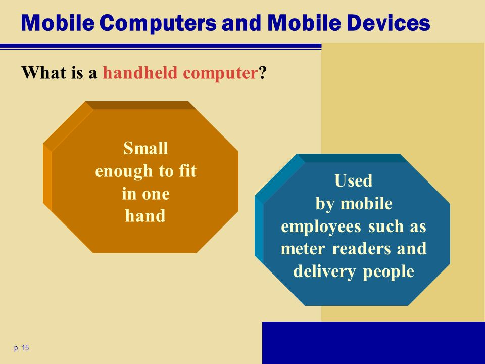 Mobile Computers and Mobile Devices What is a handheld computer.