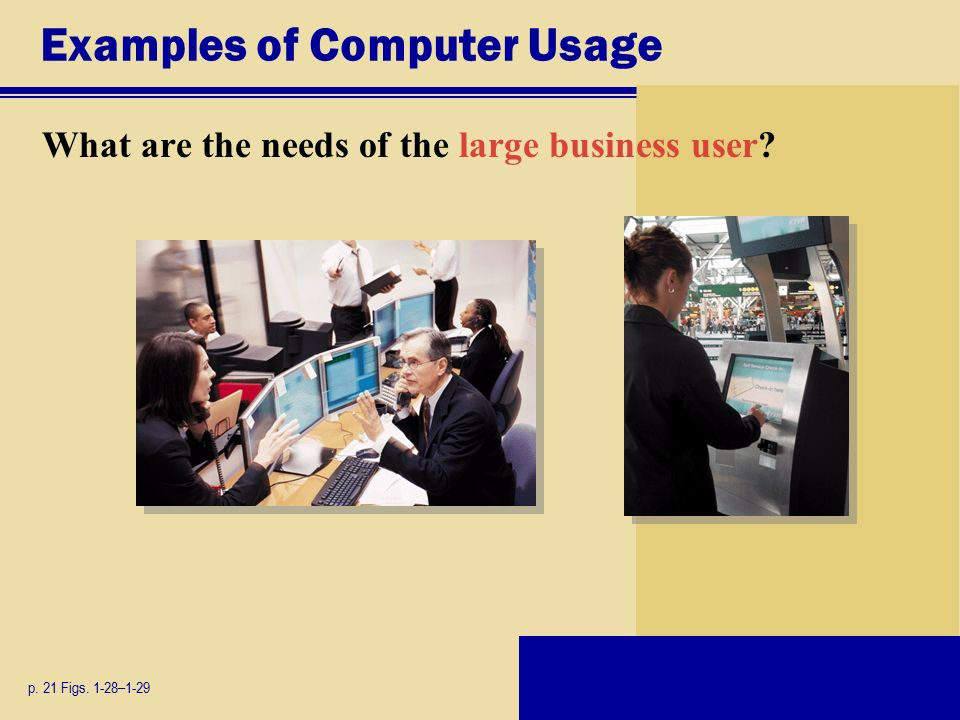 Examples of Computer Usage What are the needs of the large business user p. 21 Figs. 1-28–1-29
