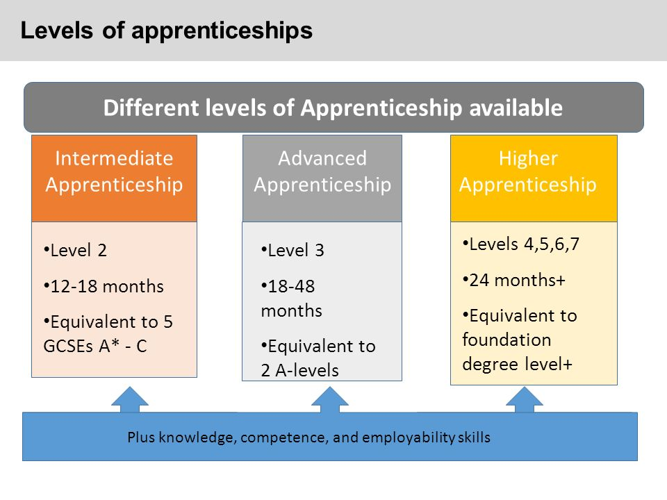 Levels of apprenticeships Different levels of Apprenticeship available Plus knowledge, competence, and employability skills Intermediate Apprenticeship Advanced Apprenticeship Higher Apprenticeship Level months Equivalent to 5 GCSEs A* - C Level months Equivalent to 2 A-levels Levels 4,5,6,7 24 months+ Equivalent to foundation degree level+