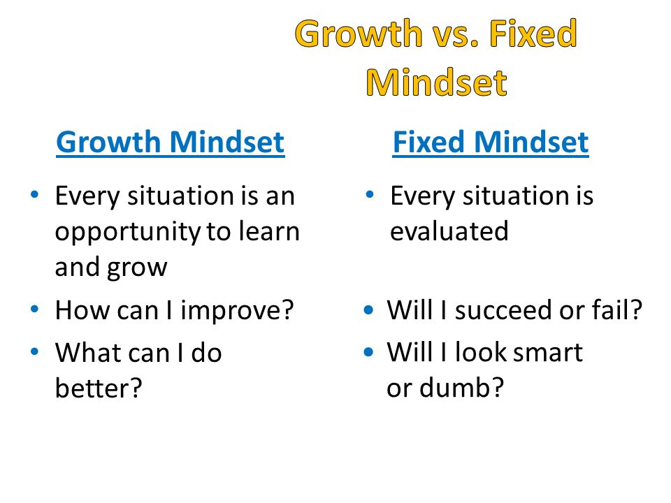 Growth Mindset Every situation is an opportunity to learn and grow How can I improve.