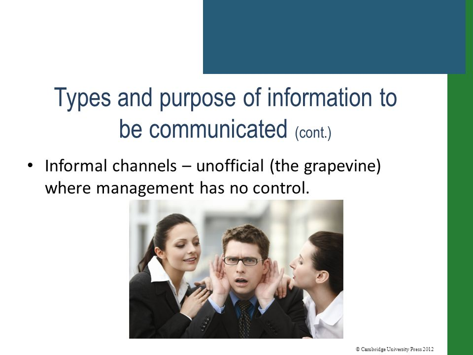 © Cambridge University Press 2012 Types and purpose of information to be communicated (cont.) Informal channels – unofficial (the grapevine) where management has no control.