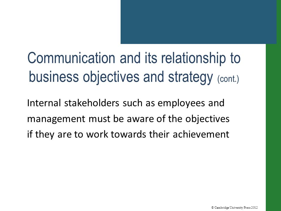 © Cambridge University Press 2012 Communication and its relationship to business objectives and strategy (cont.) Internal stakeholders such as employees and management must be aware of the objectives if they are to work towards their achievement