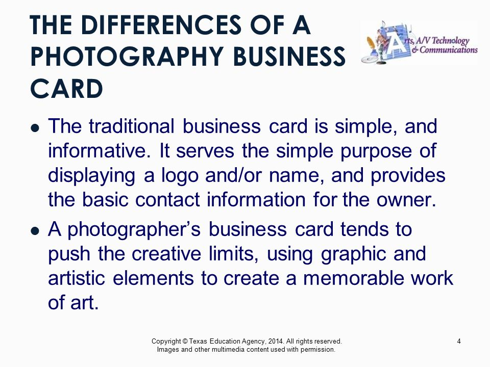 CREATING A BUSINESS CARD Commercial Photography Copyright © Texas ...