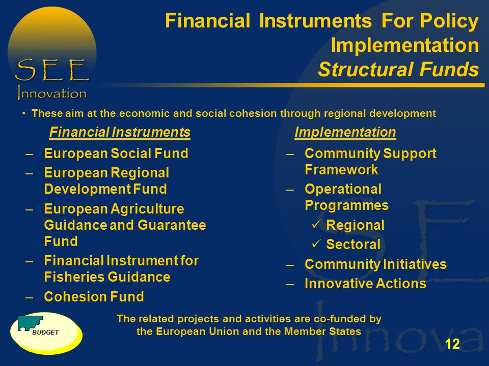 12 Financial Instruments For Policy Implementation Structural Funds –European Social Fund –European Regional Development Fund –European Agriculture Guidance and Guarantee Fund –Financial Instrument for Fisheries Guidance –Cohesion Fund –Community Support Framework –Operational Programmes Regional Sectoral –Community Initiatives –Innovative Actions The related projects and activities are co-funded by the European Union and the Member States Financial InstrumentsImplementation These aim at the economic and social cohesion through regional development BUDGET