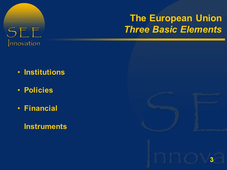3 Institutions Policies Financial Instruments The European Union Three Basic Elements