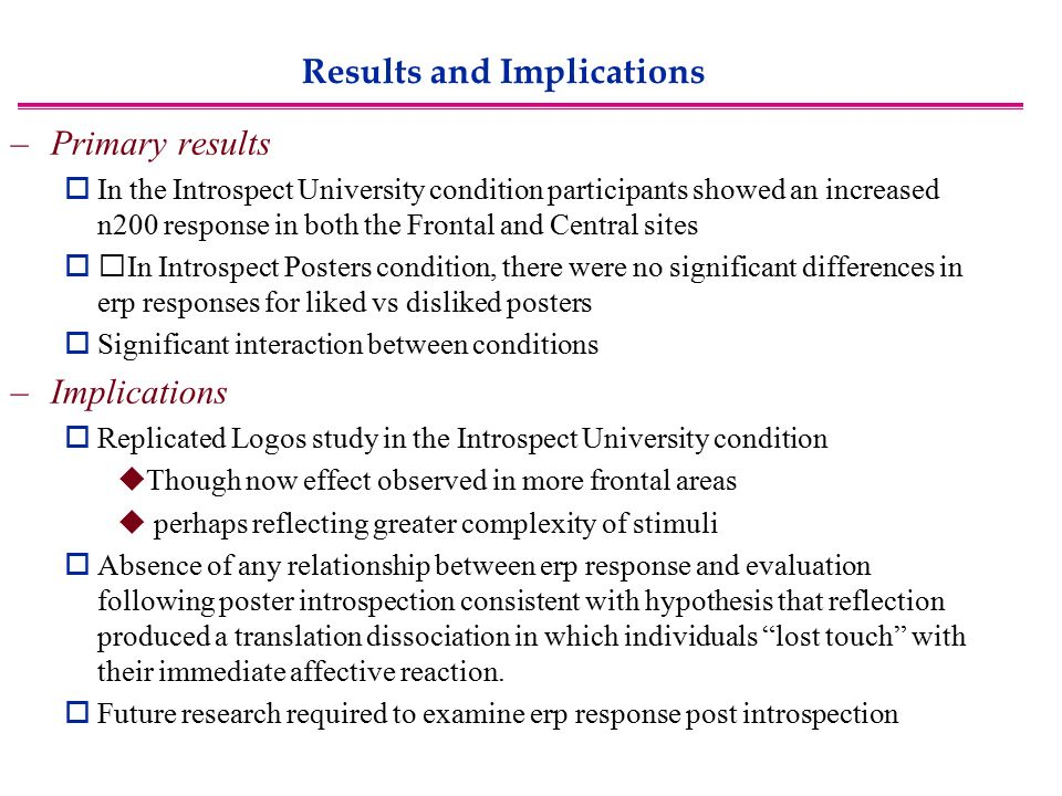 Results and Implications –Primary results  In the Introspect University condition participants showed an increased n200 response in both the Frontal and Central sites  In Introspect Posters condition, there were no significant differences in erp responses for liked vs disliked posters  Significant interaction between conditions –Implications  Replicated Logos study in the Introspect University condition  Though now effect observed in more frontal areas  perhaps reflecting greater complexity of stimuli  Absence of any relationship between erp response and evaluation following poster introspection consistent with hypothesis that reflection produced a translation dissociation in which individuals lost touch with their immediate affective reaction.
