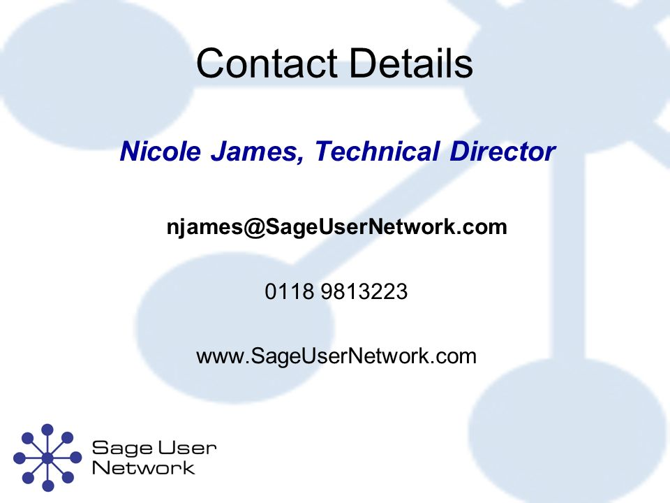 Contact Details Nicole James, Technical Director