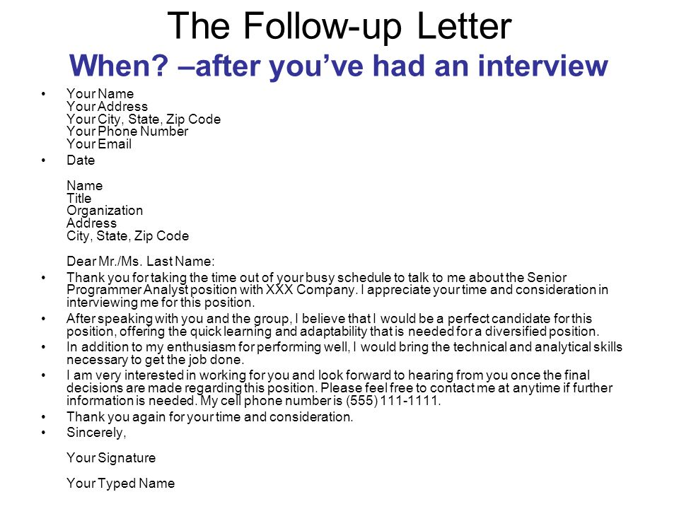 after interview follow up email  the followup letter mrs jeffries practical english iv ppt