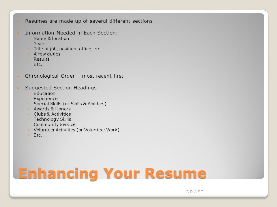 Seeking Employment Preparing the Required Documents D R A F T. - ppt ...