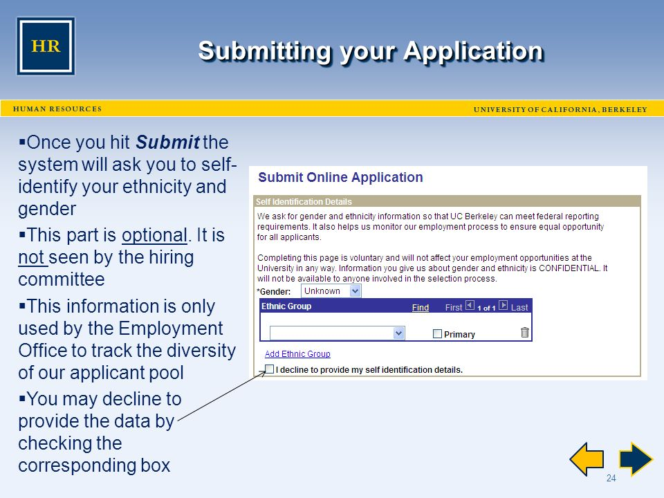 24 Submitting your Application  Once you hit Submit the system will ask you to self- identify your ethnicity and gender  This part is optional.
