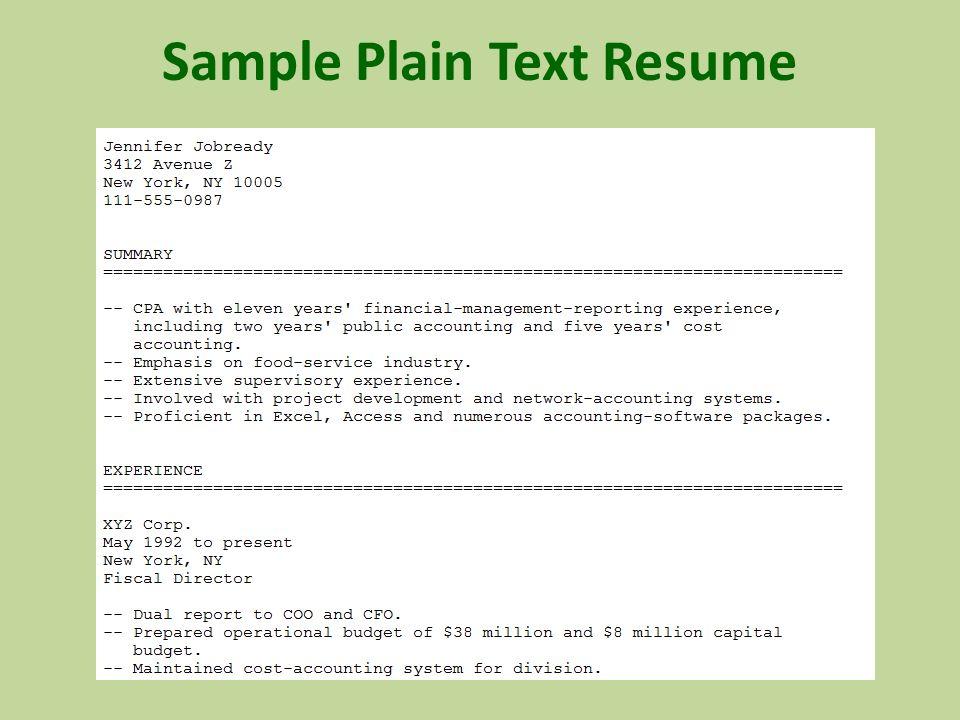 How to create a plain text ascii resume dummies