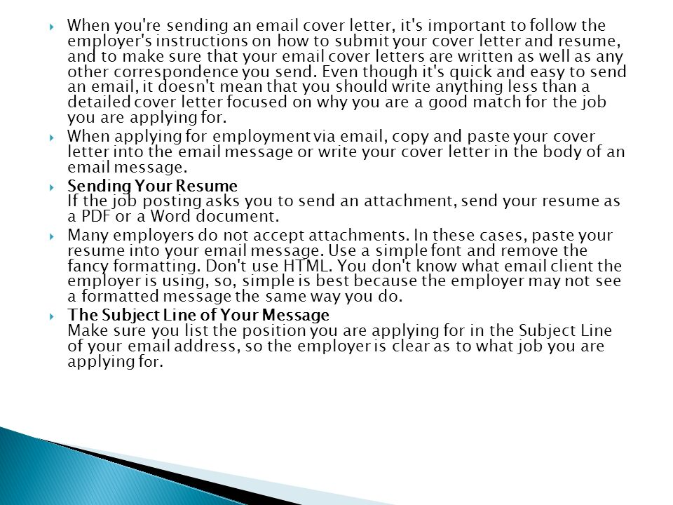 when you re sending an email cover letter it s important to follow the